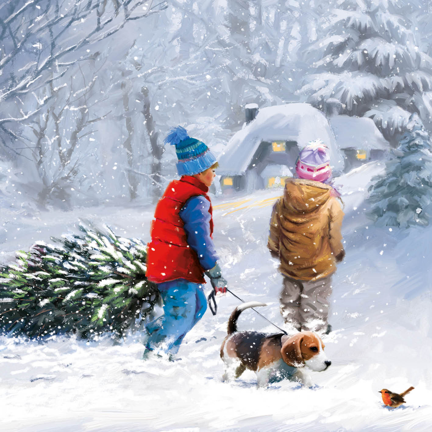 Kids in Snow - Christmas Card