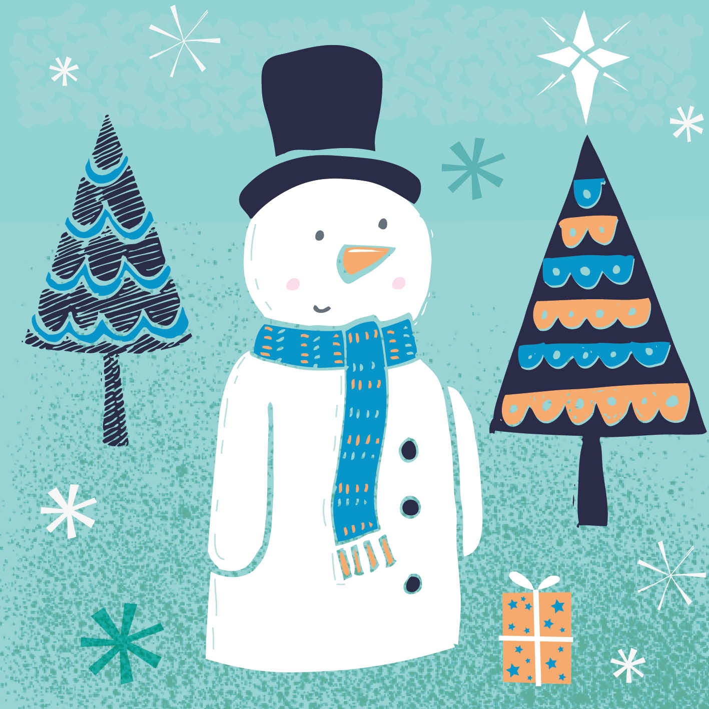 Snowman with Hat - Christmas Card