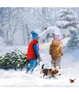 Charity Christmas Card - Kids in Snow