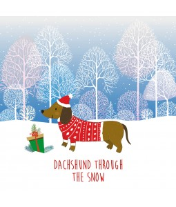 Christmas Card - Dachshund Through the Snow