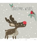 Charity Christmas Card - Reindeer and Robin