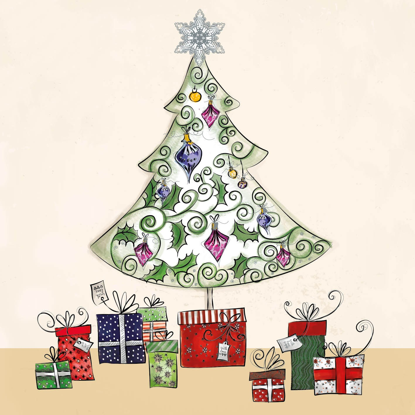 Christmas Toys Cards : Gifts under the tree christmas card charity cards