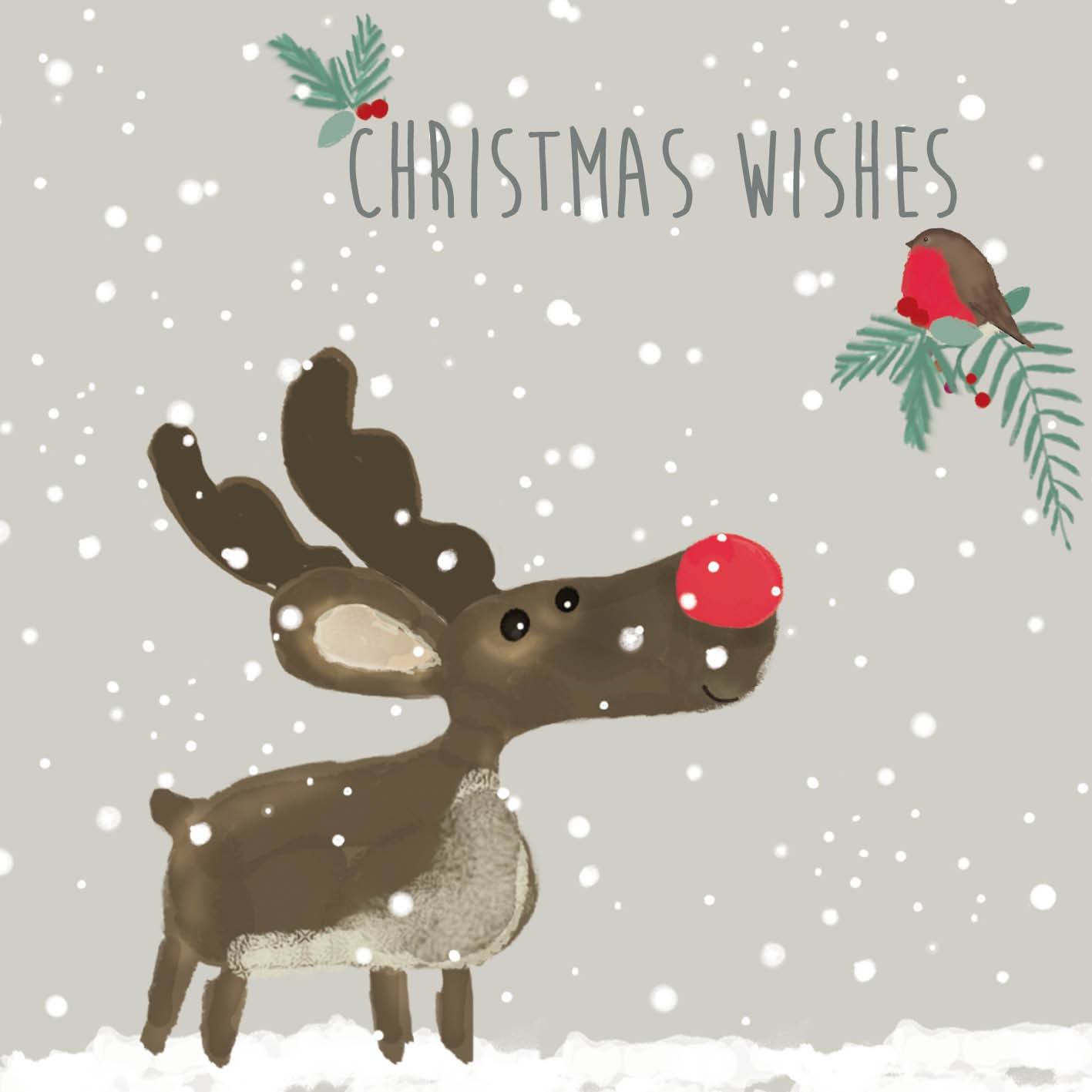 53c957f674 Reindeer and Robin - Christmas Card - Charity Cards